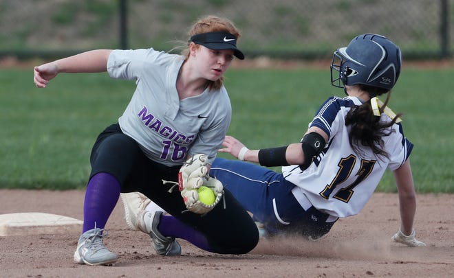Tallmadge's Marley Queen safely steals second as Barberton's Karlie Klemens takes the throw in the first inning of the Blue Devils' 14-4 win Wednesday at Tallmadge. [Mike Cardew/Beacon Journal]