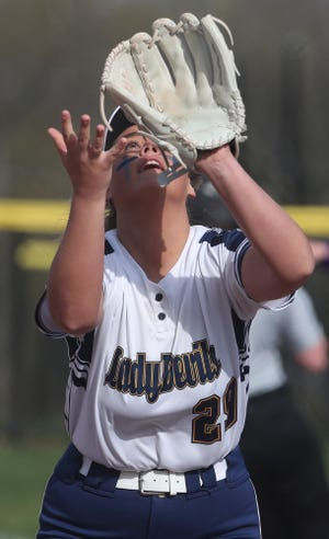 Tallmadge first baseman Lani Gray gets set to catch a popup in a game earlier this season against Barberton. Gray and the Blue Devils earned a 14-0 sectional final win over Springfield on Thursday, May 13, 2021 at Tallmadge High School.