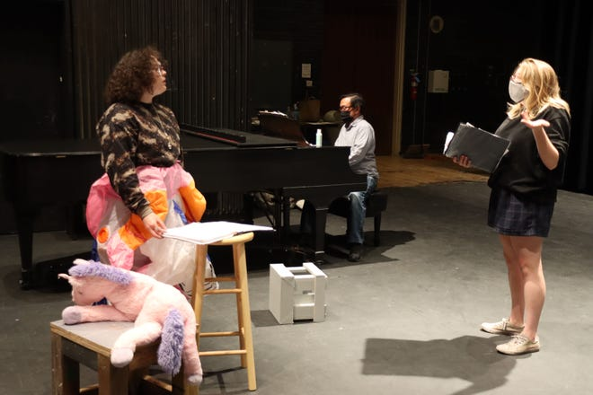 """Coral Parks and Cadence Lowery-Hart rehearse with Michael Ching (center) the song """"Imaginary Friend"""" for the Amarillo Opera production of """"Remove Shoes Before Entering."""""""