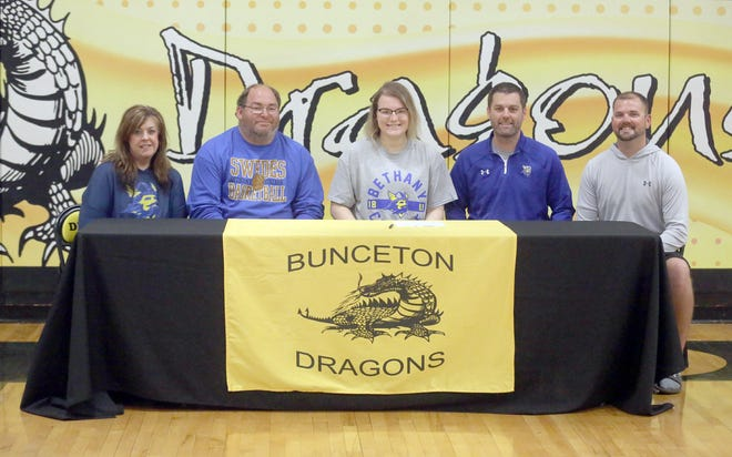 Bunceton senior Maddie Brandes recently inked a letter of intent to play basketball at Bethany College in Lindsborg, Kansas. On hand during the signing last week in Bunceton were (front row, left to right) Debbie Brandes, Tim Brandes and Maddie Brandes. (back row, left to right) Keith Ferguson, head coach, and Dustin Ray, head coach at Bunceton.