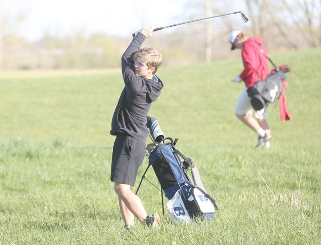 Boonville golfer Michael DeLeon chips the ball close to the pin on the No. 5 green Wednesday during a five team meet at Hail Ridge Golf Course in Boonville. DeLeon and Austin Rice tied for the low score for Boonville with a 12-over par 47. The Boonville Pirates golf team finished third out of five teams in the meet.