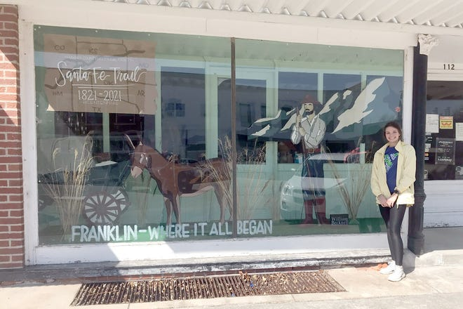 Local artist Taylor Ellebracht has created a display for the store window next to the SHCHS museum in downtown New Franklin honoring the Trail.