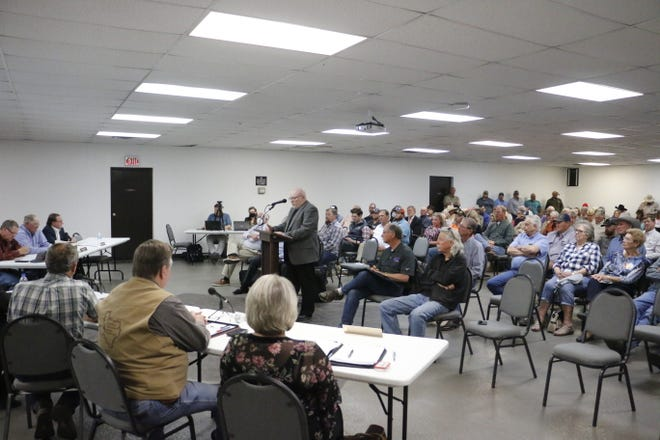 Brookesmith school superintendent Steve Mickelson speaks about the solar farm project at the Adams Street Community Center Wednesday night in Brownwood.