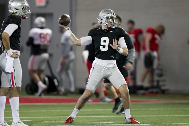 Jack Miller, here practicing on April 2, is competing with C.J. Stroud and Kyle McCord for Ohio State's starting quarterback job.