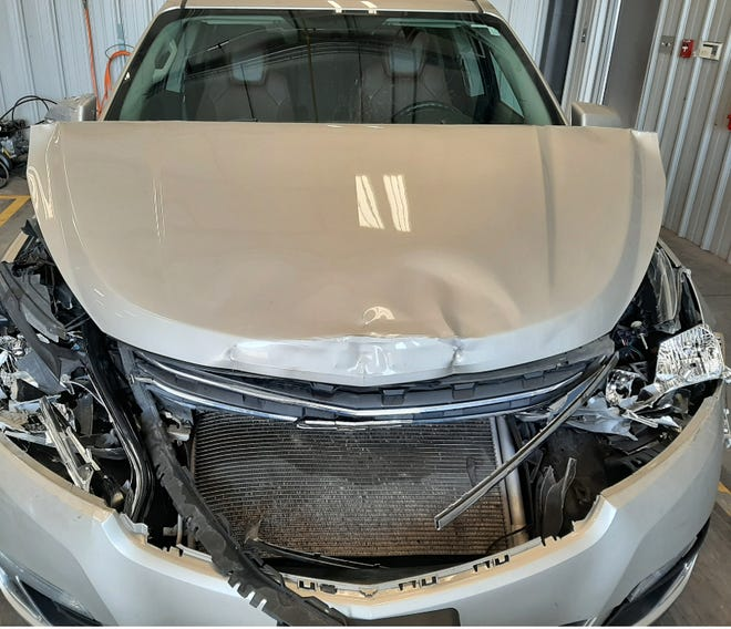 A 73-year-old woman was driving this 2015 Chevrolet sedan for Lyft when she was carjacked April 11 by her would-be customers, four males and a female.  The suspects used her stolen car to rack up charges on her stolen credit cards inside. The next day, some of the suspects  crashed the vehicle into a school bus.