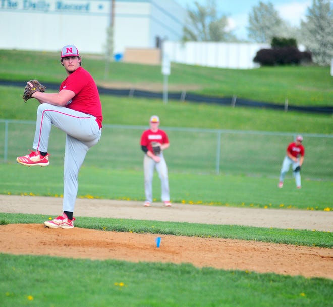 Norwayne's Trent Barstow delivers against Hillsdale.