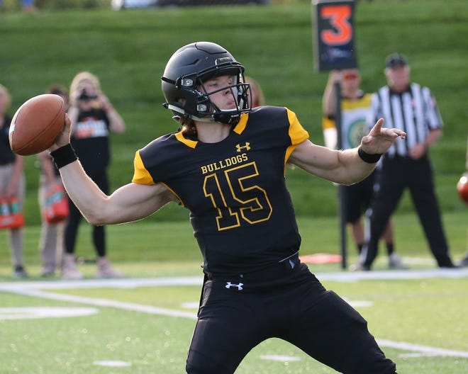 Adrian College quarterback Jack Wurzer throws a pass during the 2019 season.