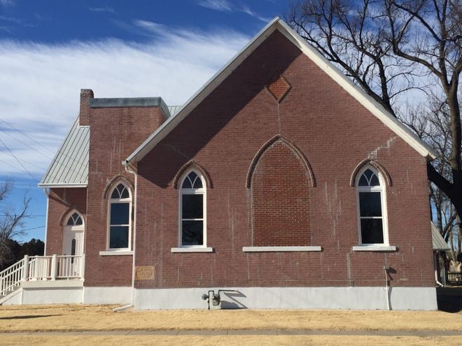 The newly restored east side of the Hanston First Baptist Church on Jan. 17.