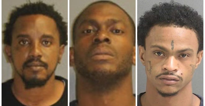 Daytona Beach police arrested three men, from left, Maurice Fields, Devin Favors and Aaron Thomas, in two separate drug raids and seized drugs, cash and guns.