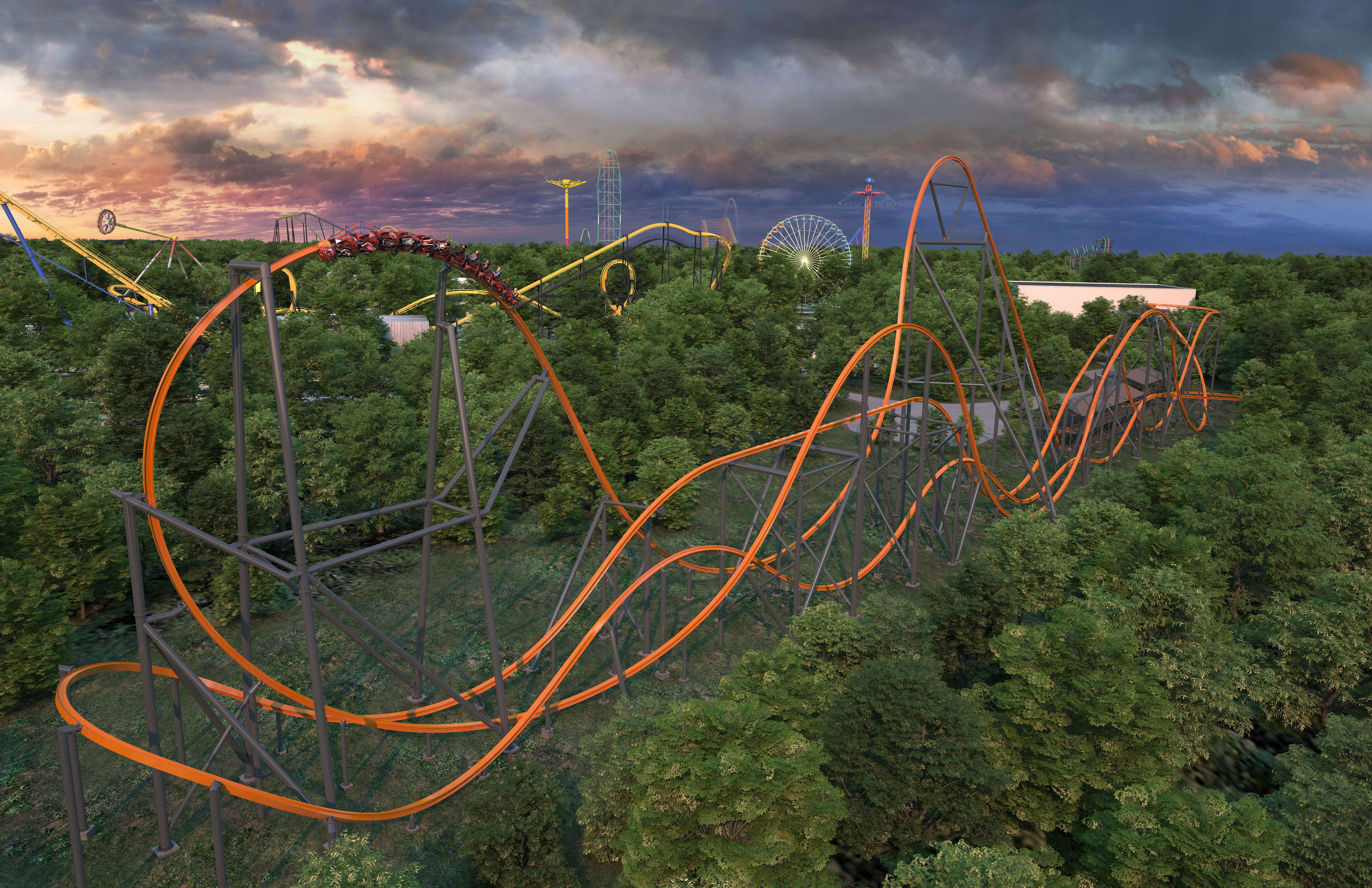 Artist's rendering of Six Flags Great Adventure's Jersey Devil Coaster.