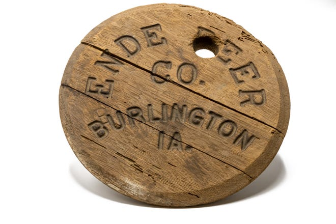 An Ende Beer Co. beer barrel lid, an Out of the Attic item, is shown at the Des Moines County Historical Society, 504. N. Fourth St., in Burlington.