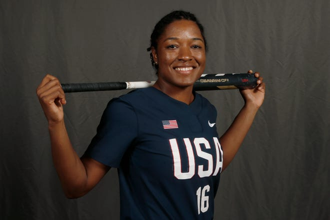 Outfielder Michelle Moultrie poses for a photo during media day at the USA Softball Women's Olympic Team selection. The Mandarin High School graduate is awaiting her chance to represent the United States at this summer's Olympics in Tokyo.