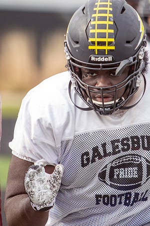 Galesburg High School junior Jermany Goods runs through a defensive drill during football practice on Tuesday, April 6, 2021 at Van Dyke Field.