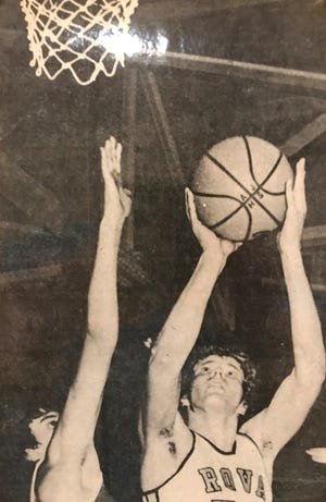 ROVA's All-State center Dave Johnson connects on a short shot during the 1975-76 season, which saw him average more than 24 points per game.