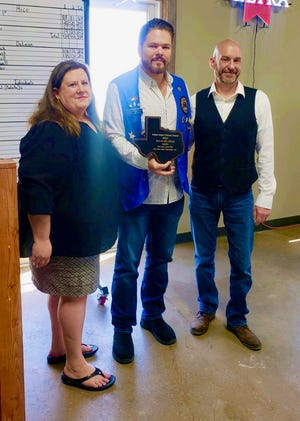 Pam Streeter, left, and Scott M. Cole, right, of the Inn on the River were presented the Glen Rose Lions Club's first-ever Lion's Good Citizen Award earlier this month by Glen Rose City Councilman Chip Joslin. During the freezing temperatures that hit the area earlier this year, the Inn of the River hosted 220 people, feed more than 2,000 meals and allowed more than 200 more people to shower and use the facilities at no cost. In addition, the duo continued to help residents with their broken pipes and other areas of need to get them back on their feet.