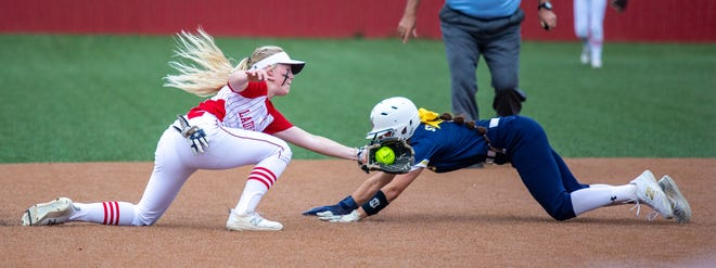 Glen Rose shortstop Kaycee Bock tags out a Stephenville runner before she reaches second base.