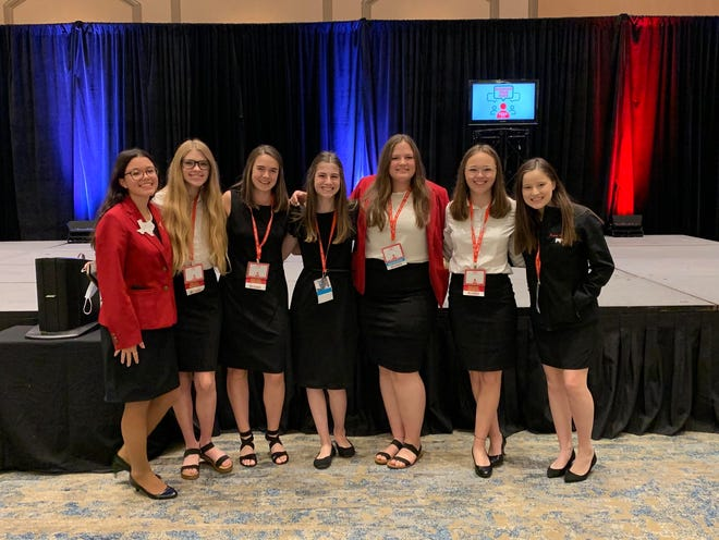From left, Caroline Davis, Trinidy McCoy, Hannah Balkenbush, Kate Reedy, Ashlynn Perry, Erin Outen, Emma Parrish participate in the Texas FCCLA State Leadership Convention April 7-10 in Dallas.