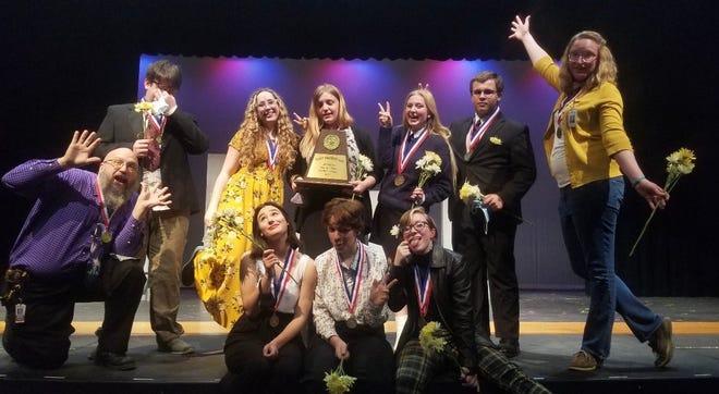 From left (standing), Salem Scott, Trinity McClure, Raya Point, Jillian Kirkley, front row, from left, director Matthew Kienbaum, Audie Ross, Lilla Boyett, Miranda Denbar, Caroline Martin and director Koriann Hammond won district for One Act Play.