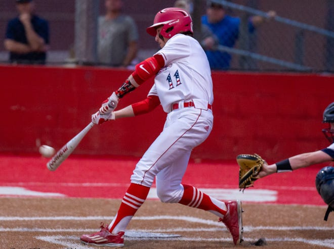 Glen Rose's Kanyon Keese, seen here in action earlier in the year against Stephenville, had the Tigers' lone hit against the Yellowjackets in a 22-2 loss on Friday night.