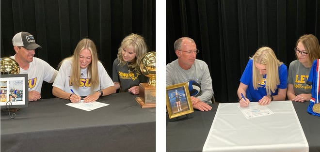 Gunter's Jacee Childers, left, is headed to Hardin Simmons to play volleyball while Beth Gilbreath is also headed to the American Southwest Conference as she chose to play for LeTourneau.