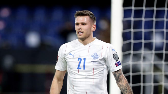 Iceland's Arnor Ingvi Traustason during the World Cup 2022 group J qualifying soccer match between Germany and Iceland in Duisburg, Germany, Thursday, March 25, 2021. Traustason, a late addition to the New England Revolution, who missed training camp while on international duty as he played in three 2022 World Cup qualifiers and then had to wait for his P-1 visa, finally arrived on Monday.