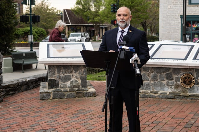 Jay Carey, 50, of Hendersonville, announced his campaign bid to run against 11th District U.S. Rep. Madison Cawthorn in the 2022Democraticprimary outside of the Historic Hendseron County Courthouse on Thursday, April 15, 2021.
