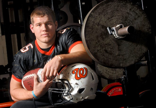 """Colton Underwood as he appeared in 2009 as a football player at Washington Community High School. The former star of """"The Bachelor"""" reality-TV show revealed Wednesday that he's gay."""