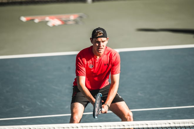 Texas Tech senior Parker Wynn, pictured in a match earlier this season, and the 25th-ranked Red Raiders fell to No. 11 Georgia on Sunday in the second round of the NCAA Tournament.