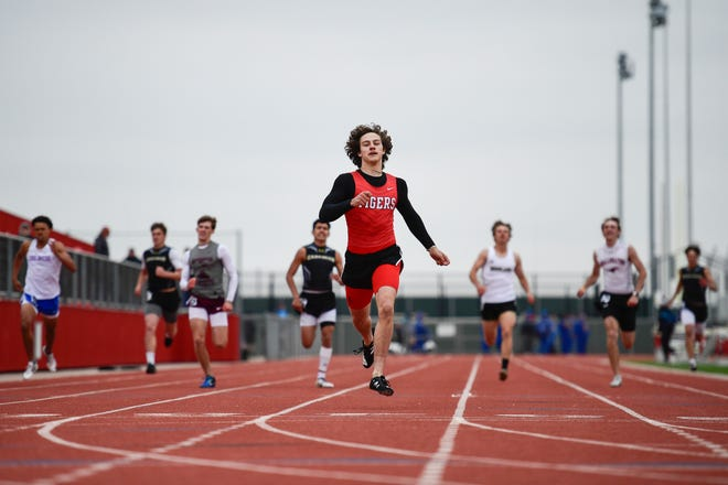 Slaton's Chris Rader wins the boys 400-meter dash at the Class 3A area track and field meet Wednesday at Pirates Stadium at First United Park in Woodrow.