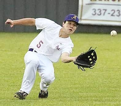 Anacoco senior Drew Tebbe (5) fields a ball in the outfield during the Indians' win Tuesday over Singer. He drove in three runs for Anacoco in the contest.