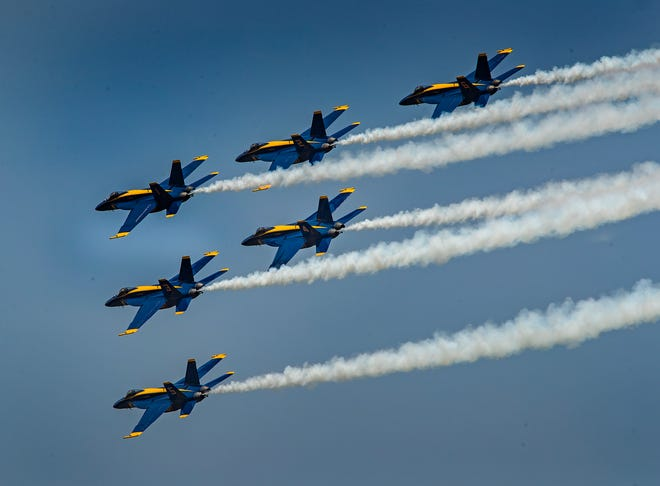 The U.S. Navy Blue Angels will headline The Great Florida Air Show at Orlando Melbourne International Airport on May 15 and 16. This photo shows them flying their Boeing F/A18 Super Hornet fighter jets in formation during a reconnaissance flyby on arrival to the 47th-annual Sun 'n Fun Aerospace Expo at Lakeland Linder Airport in Lakeland on April 15.