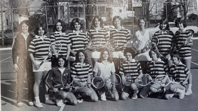 Pictures of the Past comes from the 1977 Mount Pulaski High School yearbook, The Hilltop. Members of the Girl's Tennis team are pictured. From left in front: Sally Tetley, Tammy Maxheimer, Paige Hudelson, Deb Cyrulik, Janet McVey and Ann Brown. Back row: Coach Martinez, Jayne Durst, Heidi Schlitt, Stephanie Buckles, Ann Aonnolley, Deb Shannon, Jill Buckles, Charissa Donnolley and Sally Anderson.