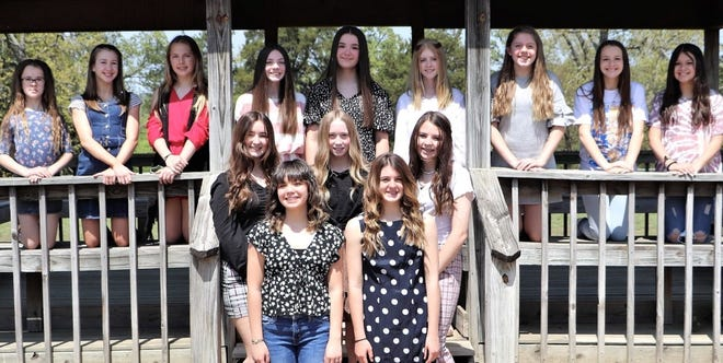 Northridge Middle School's 2021-22  new cheer team members: (front row, from left) Maci Barrett and Mackenzie Jones; (second row) Brynna Pruitt, Abigail Malone and Lauryn Mills; (third row) Isabella Klein, Emma Pixley, Ally Hildebrand, Hadley Roark, Addy Moad, Kylee Lamb, Emma Parks, Lundyn Strong and Cadence Molina. The team is coached by Lisa Pixley.