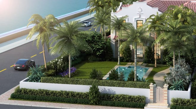 A rendering shows the newly completed townhouse that just sold for a recorded $26 million at 456 S. Ocean Blvd. in Palm Beach on the north side of the development.