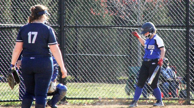 Oyster River High School senior Hailey Davis steps to the plate before hitting her first career home run in Wednesday's 11-2 win over Exeter.