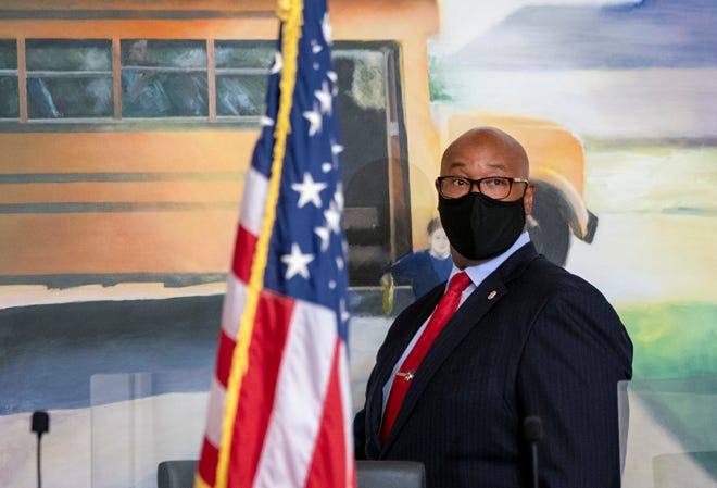 Palm Beach County Schools Superintendent Donald Fennoy arrives at a press conference at district headquarters in West Palm Beach, Florida on April 15, 2021. GREG LOVETT/PALM BEACH POST