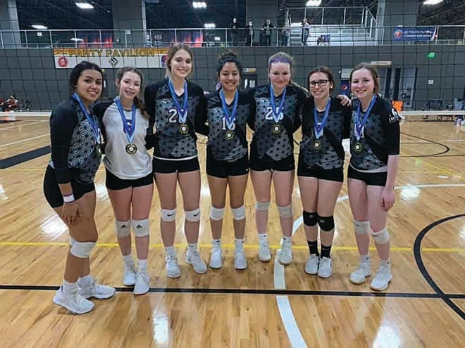 Players on one of Pratt Impact's 16-year-old teams won a club volleyball championship title for their division this year. Four of the players are from Pratt High School, four are from Skyline High School. From left to right are Gaby Heredia, Breckyn Miller, Presli Harts, Monika Castillo, Delatni Griffits, Kady Anschutz, Gabby Gatlin.