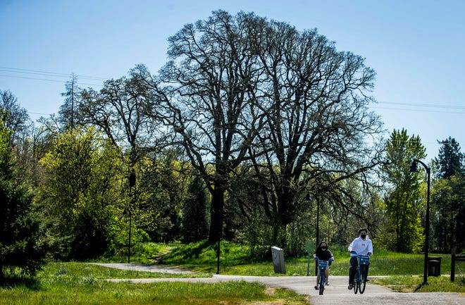Two people ride on PeaceHealth rental bikes along the paths in front of Autzen Stadium and the Alton Baker dog park.