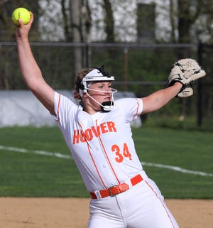 Sydnee Koosh of Hoover delivers a pitch during their game against Perry at Hoover on Wednesday, April 14, 2021.