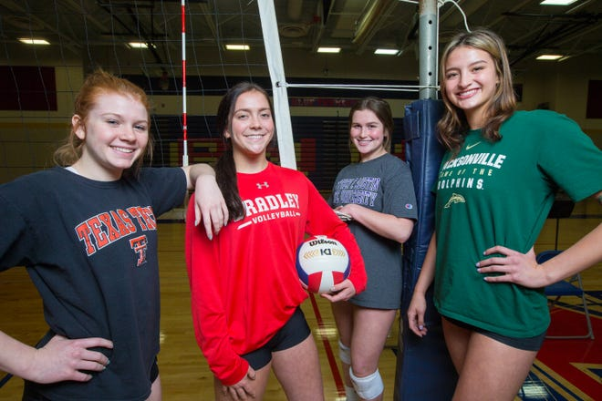 Belvidere North alone has four Division I recruits — Grace Betke, from left, Kaitlin Leider, Jayden Flynn and Madison Clark — in its six-girl starting lineup.
