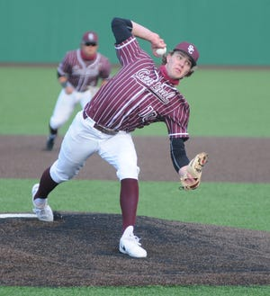 Salina Central's Caden Kickhaefer (10) throws a pitch during the second inning against Junction City at Dean Evans Stadium on Apr. 14.