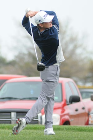 Sacred Heart's Kameron Shaw tees off the first hole at Salina Municipal Golf Course during the Sacred Heart Invitational on Thursday.