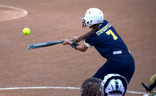 Stephenville's Katie McIrvin swings at a pitch against Glen Rose on Tuesday night. The Honeybees fell 11-1.