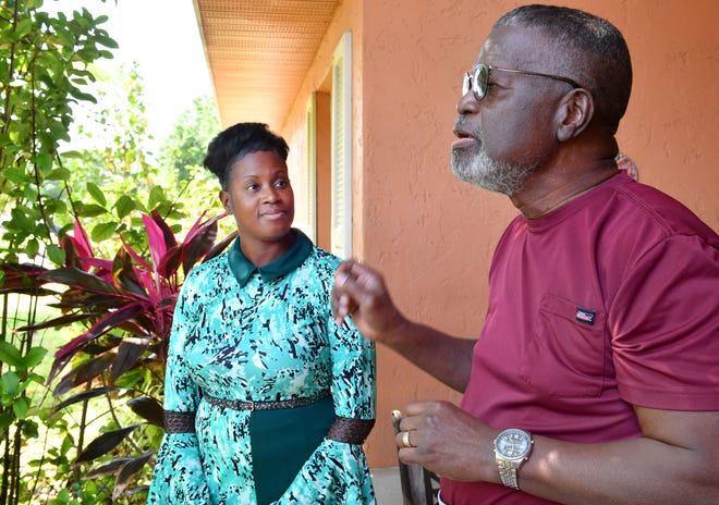 """India White, left, visits with her friend and mentor, Thomas W. """"Bill"""" Clyburn, at his home in Bradenton recently."""