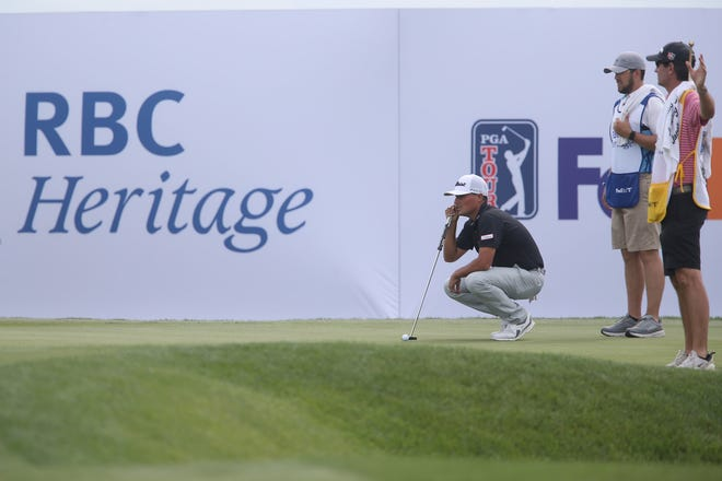 Bryson Nimmer gets a read on the 17th green during the first round of the RBC Heritage on April 15.