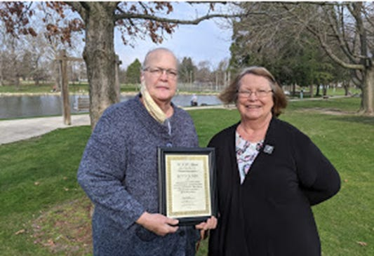 """Joyce Wirth, left, a former president of the Kewanee Garden Club, recently presented Betty Oliver """"The Illinois Garden Club VIP Award."""" Oliver received the award for her 17 years of club membership and her enrichment of the club that includes organizing club committees and serving as the president for the organization twice."""