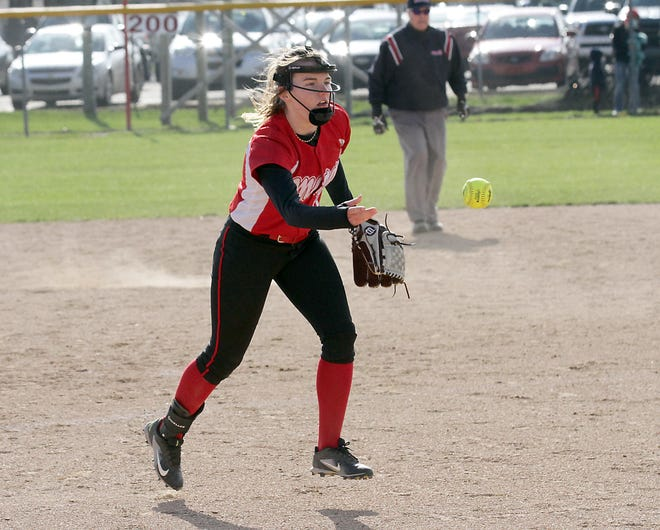 Colon pitcher Haven McClish tosses a ball to first base to record an out after fielding a ground ball on Wednesday.