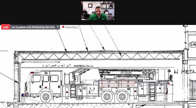 During the city commission meeting Wednesday, Ryan Banaszak, director of public safety for the city of Sturgis, discusses placement of a new truck at the fire station.