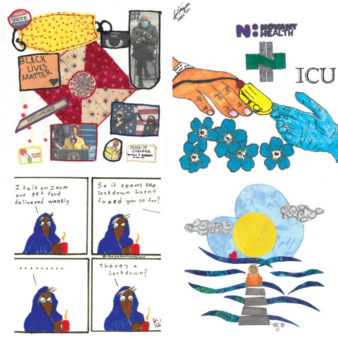 Four of the quilt squares from the Wilmington community that will be on display in the new  exhibit of COVID Story Quilts: Global Perspectives on the Pandemic.