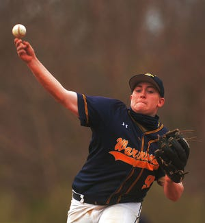 Norwich Tech's Chace Davidson pitches against Parish Hill Wednesday during his team's 11-1 win in Norwich.
